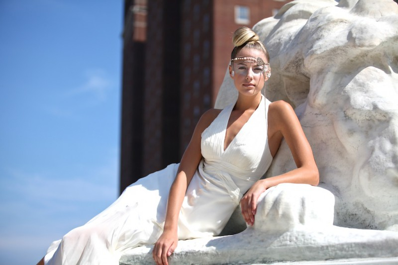 Beautiful model!   High fashion shoot took place at Niagara Square in Buffalo.