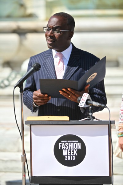 Buffalo Mayor Brown attended the fashion shoot to welcome Mercedes-Benz Fashion week to the city.  Great speech by our Mayor.